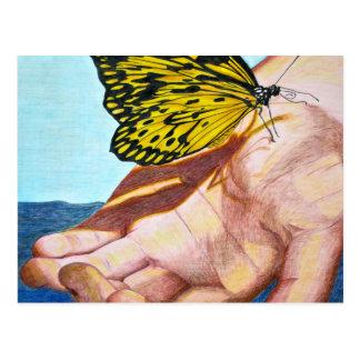 Mariposa en la mano postal