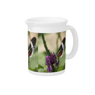 Mariposa en lado púrpura jarras