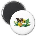 Mariposa en Lantana amarillo Imán De Frigorífico