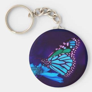 Mariposa en llavero ligero azul