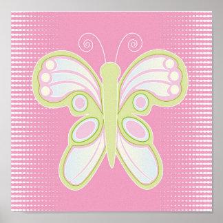 Mariposa en lona rosada impresiones