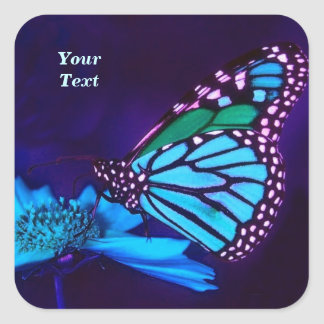 Mariposa en luz azul pegatina cuadrada
