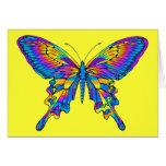 Mariposa en multicolor hermoso con el azul felicitaciones