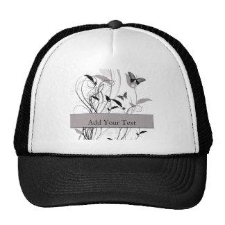Mariposa en negro y gris gorra