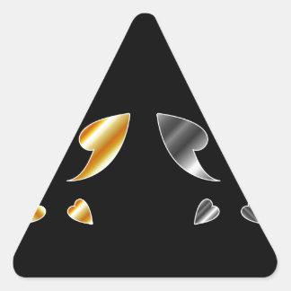 Mariposa en oro y colores plata pegatina triangular