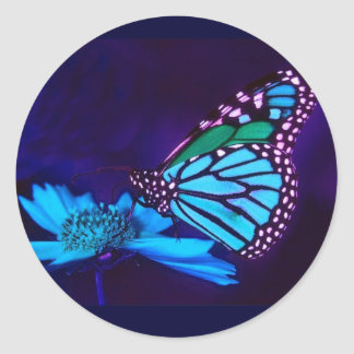 Mariposa en pegatina ligero azul