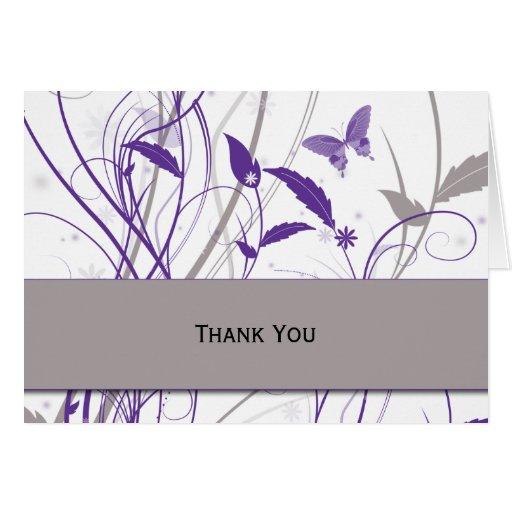 Mariposa en púrpura y gris felicitaciones