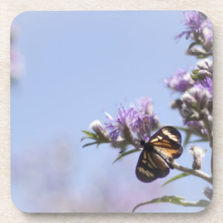 Mariposa en rama púrpura del flor posavaso
