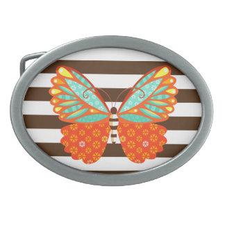 Mariposa en rayas - hebilla del cinturón de Boho Hebillas Cinturón Ovales