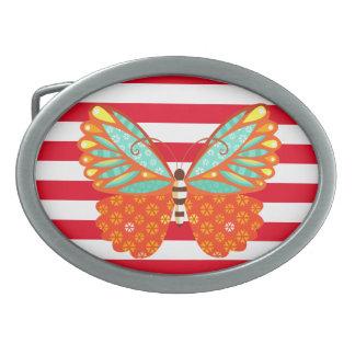 Mariposa en rayas - hebilla del cinturón de Boho Hebillas De Cinturón Ovales