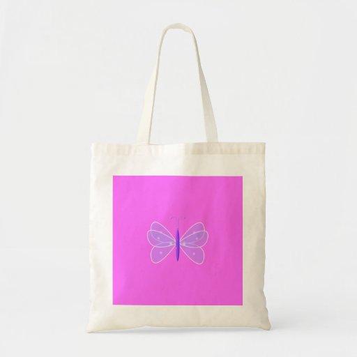 Mariposa en rosa bolsas lienzo
