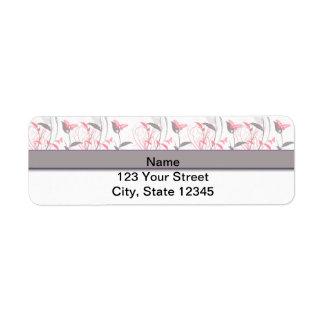 Mariposa en rosa de la madreselva etiqueta de remite