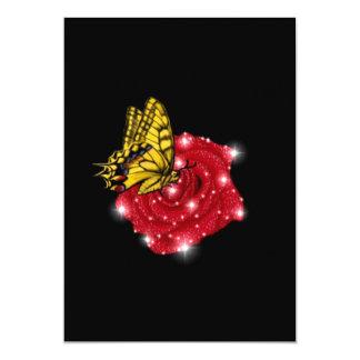 """Mariposa en rosa roja m. sterne regentropfen invitación 5"""" x 7"""""""