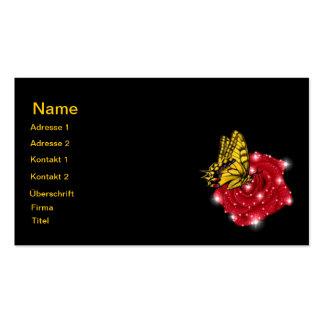 Mariposa en rosa roja m. sterne regentropfen tarjeta de negocio