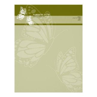 Mariposa en simple moderno elegante del verde verd membretes personalizados