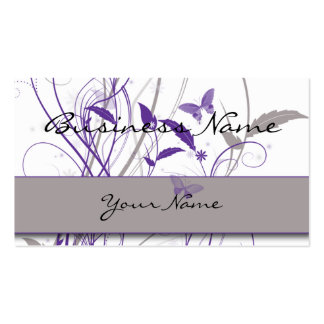 Mariposa en tarjeta de visita púrpura y gris