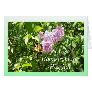 Mariposa en una flor de la lila tarjeta pequeña