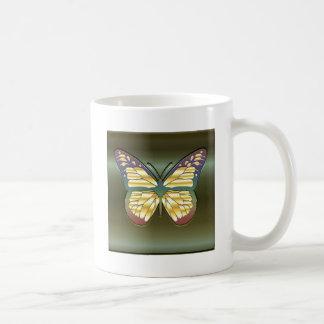 Mariposa en verde tazas de café