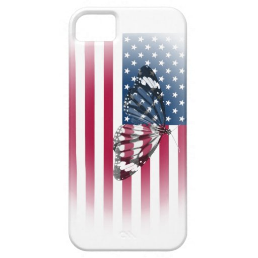 Mariposa encajada con la bandera de los E.E.U.U. iPhone 5 Carcasas