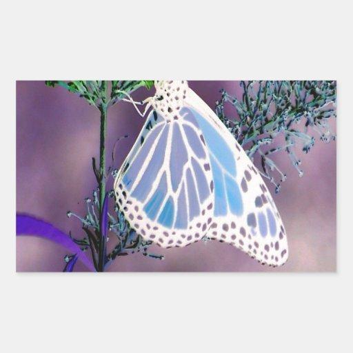 Mariposa enrrollada pegatina rectangular