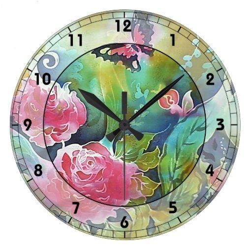 mariposa entre los rosas reloj de pared
