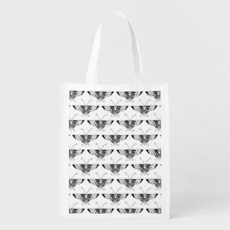 Mariposa estilizada de Deco - blanco y negro Bolsa De La Compra