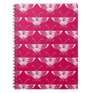 Mariposa estilizada de Deco - rosa del fucsia Libretas