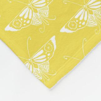 Mariposa estilizada del art déco - amarillo y manta de forro polar