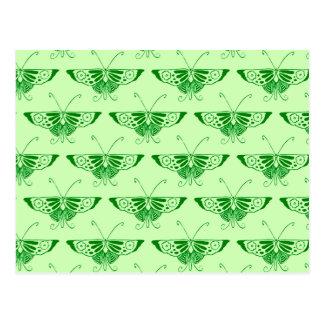 Mariposa estilizada del art déco - verde esmeralda postales
