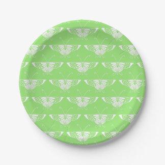 Mariposa estilizada del art déco - verde lima plato de papel de 7 pulgadas