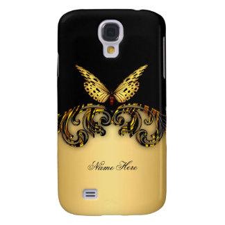 Mariposa exótica del negro del oro funda para galaxy s4