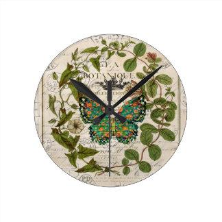 mariposa femenina elegante lamentable del trullo reloj redondo mediano