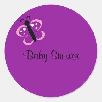 mariposa, fiesta de bienvenida al bebé pegatina redonda