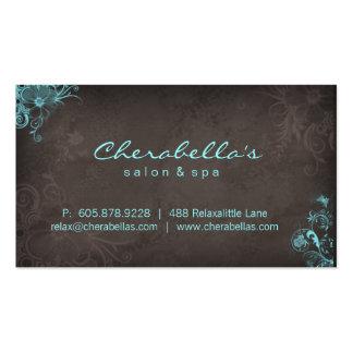 Mariposa floral Brown azul del balneario elegante Tarjeta De Visita