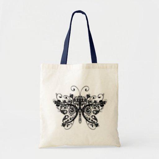 Mariposa floral de los remolinos - negro y blanco bolsa tela barata