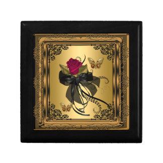 Mariposa floral del vintage del rosa rojo del oro