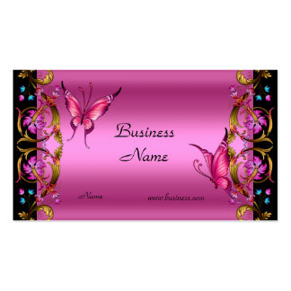 Mariposa floral elegante del negro del rosa del or tarjetas de visita