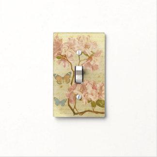 Mariposa floral elegante del rododendro rosado del placas para interruptor
