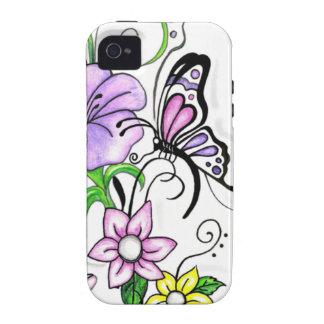 Mariposa floral iPhone 4/4S carcasas