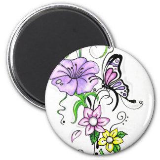 Mariposa floral imán