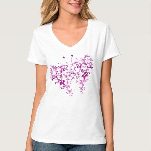 Mariposa floral rosada remeras