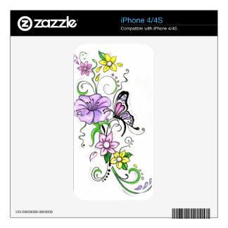 Mariposa floral skin para el iPhone 4S