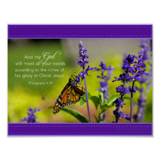 Mariposa, flores púrpuras póster