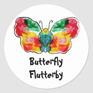 Mariposa Flutterby Pegatinas Redondas