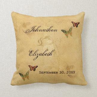 Mariposa francesa beige del damasco del vintage almohadas