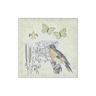 Mariposa francesa Fleur del pájaro del collage del Imán De Piedra