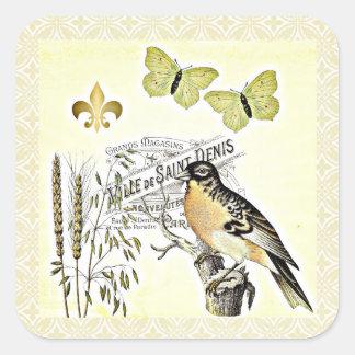 Mariposa francesa Fleur del pájaro del collage del Pegatina Cuadrada