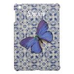 Mariposa geométrica azul iPad mini funda