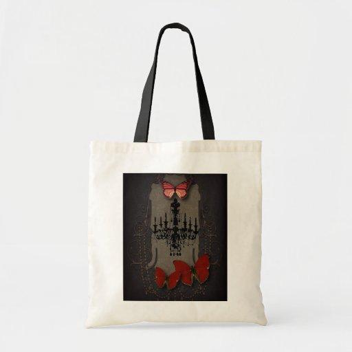 Mariposa gótica del rojo de Black Chandelier del v Bolsas De Mano