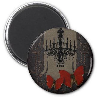 Mariposa gótica del rojo de Black Chandelier del v Imán Para Frigorifico